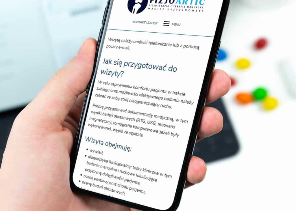 responsywna strona www dla fizjoterapii