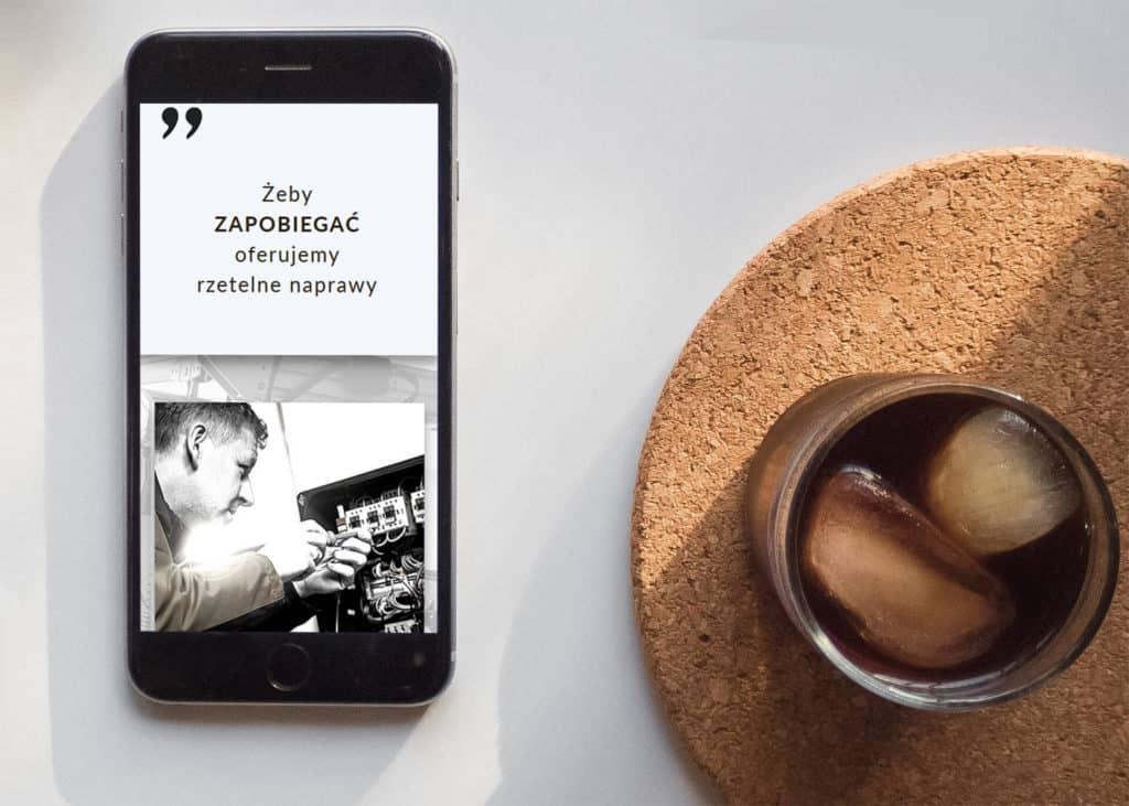 strona firmowa dla firmy przemyslowej wersja na telefony